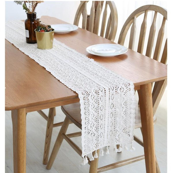 UK Beige Hollow Crochet Lace Table Runner with Tassel Wedding Decor Tablecloth