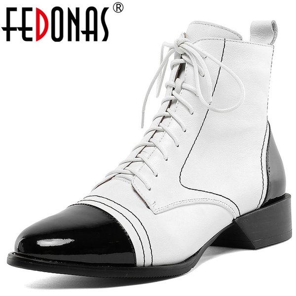 FEDONAS Vintage Mixed Colors Genuine Leather Low Heels Short Boots Winter Cross Tied Women Ankle Boots Party Office Shoes Woman