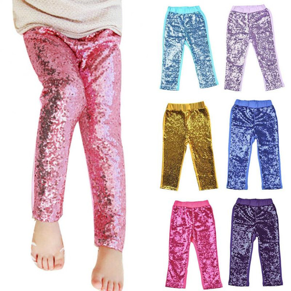 2f4ab33a0905e Kids Sequins Leggings Glitter Pants Glow Girls Trousers Boutique Long Tights  Girls Bling Dance Party Sequins