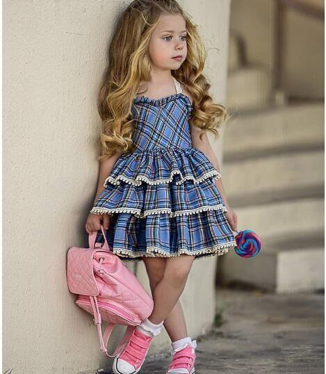 Детское платье для девочек Лето в клетку с принтом и спиной Платье из хлопка для малышей с расклешенным рукавом Сарафан оптом