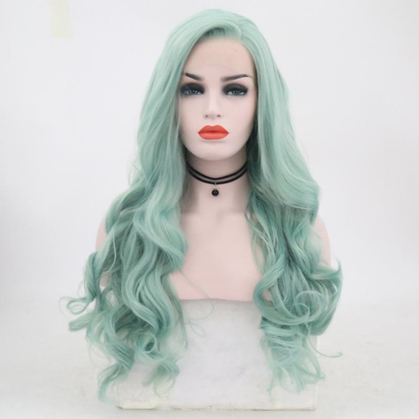 Long Body Wave Green Wig Synthetic Lace Front Wig Side Part High Temperature Fiber Hair 150% Full Density Lace Wigs