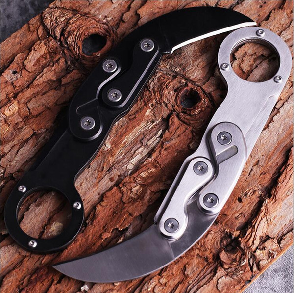 New 2 Handle Colors Karambit Claw Knife 440C Black / Satin Blade Stainless Steel Handle EDC Pocket Knives Gift Knife
