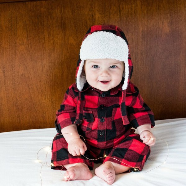 0-3Y New Baby Boy Girl Fall Toddler Girl Romper Long Sleeve Plaid Jumpsuit Hat 2 Pieces Outfit Autumn Xmas Outfit Clothes