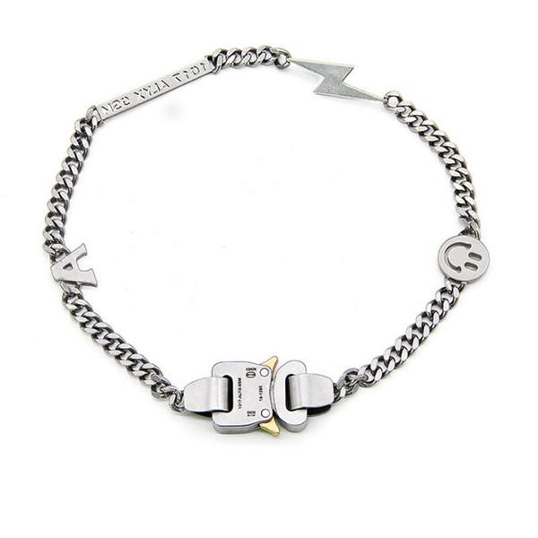 19SS ALYX collar de la pulsera de metal cadena de los hombres de las mujeres Hip Hop Accesorios al aire libre de la calle ALYX sonrisa Collar