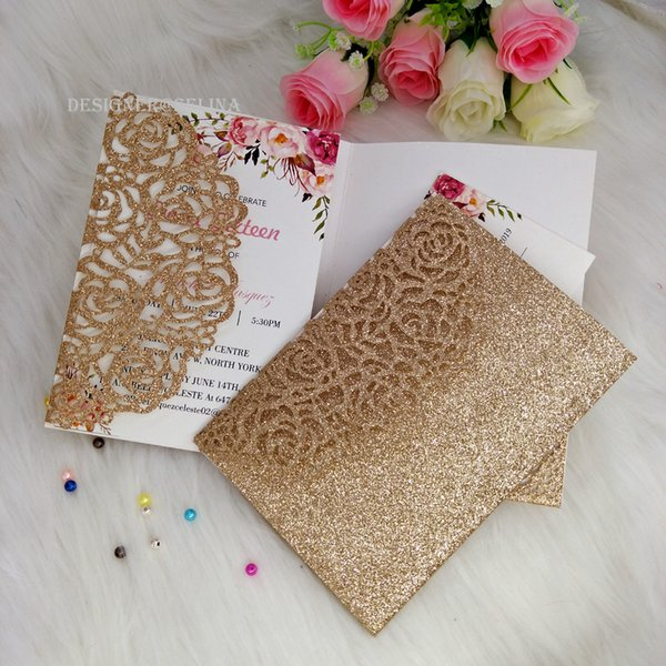 Rose Gold Laser Cut Pocket Wedding Invitation Card, DIY Glitter Invitations for Quinceanera Birthday Sweet 16th Invite shipped by DHL