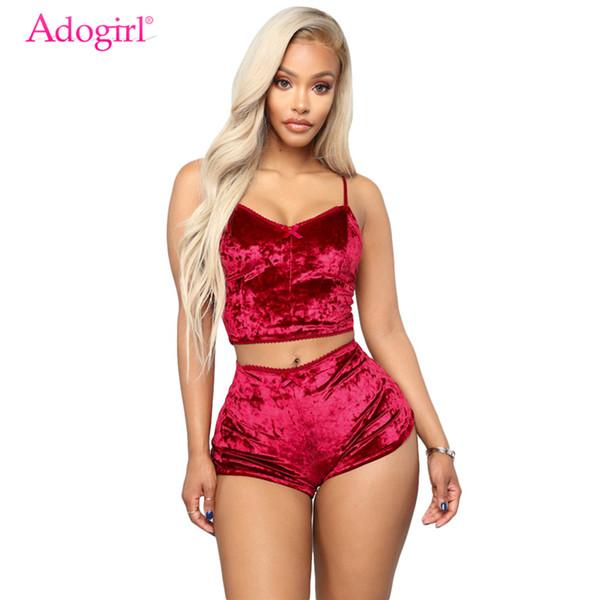 Adogirl Women Velluto Tuta Sexy Scollo a V Spalline Crop Top + Shorts Moda Night Club Tute Completo a due pezzi Abiti C19041601