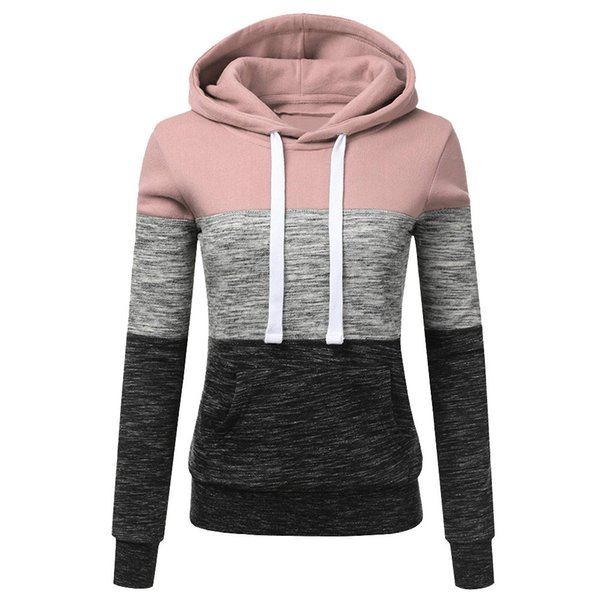 2019SPRING sport casquette NEWLadies'recreational Mode féminine Hoodies Casual Sweat-shirt à capuche Patchwork dames Chemisier Pullove