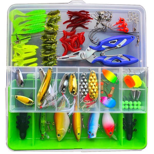 heap Fishing Lures 100pcs Lure Kit Set Minnow Popper Crankbait VIB Spinner Spoon Soft Worm Maggot Fishing Lure Hooks Pliers Trace Wire Co...