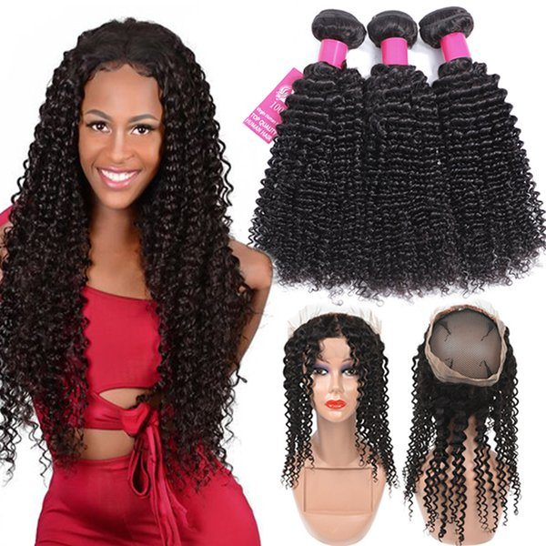 9A Brazilian Virgin Hair Bundles With Closures 360 Full Lace Closure Body Wave Straight Loose Wave Kinky Curly Deep Wave Human Hair Weave