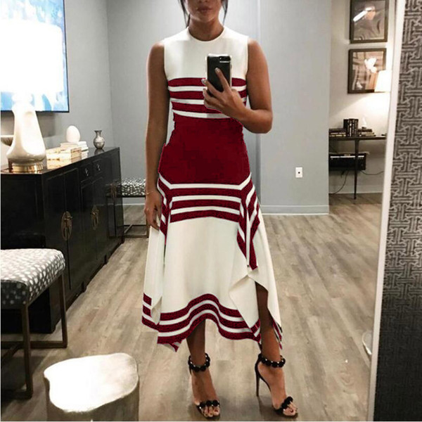 Summer Dresses Women Sleeveless White Black Tripped Evening Gown Party Long Maxi Petticoat Womens Clothing Size S-3XL Wholesale New