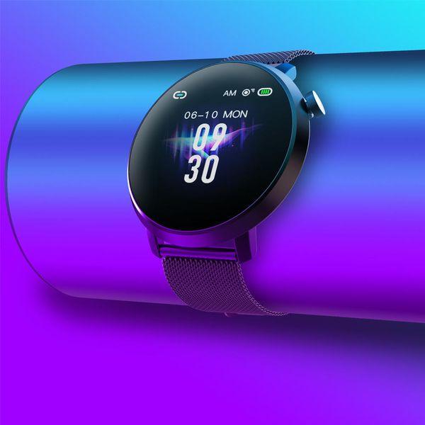 LEMFO C10 pantalla de 1.3 pulgadas táctil completa color de alta definición Muñequera IP68 del ritmo cardíaco y monitor de presión arterial inteligente de pulsera - plata