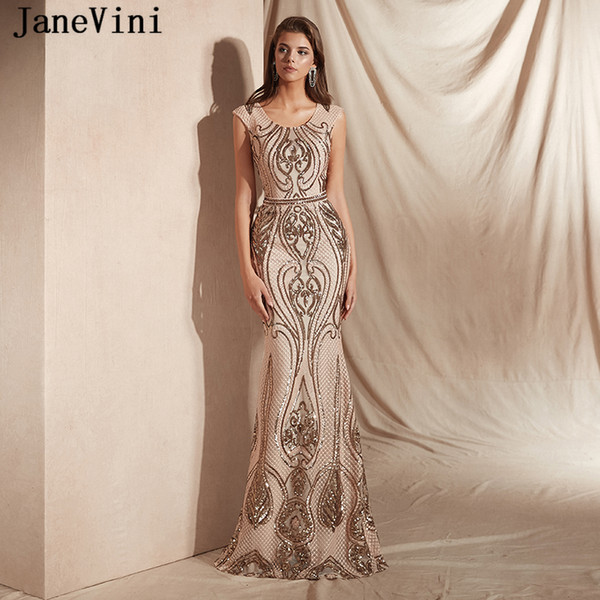 a88f197dcf6227 JaneVini Sparkle Sequined Mermaid Long Prom Dresses 2019 Scoop Neck Cap  Sleeve Illusion Back Formal Party