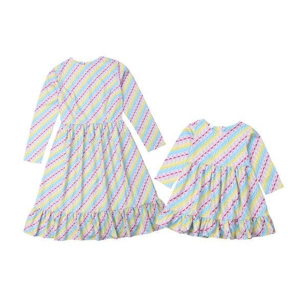Famille coloré Mère Fille égalant Femmes Filles Stripe T-shirt Hauts Vêtements famille