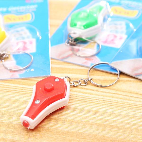Sıcak Yeni Moda Anahtarlık Mini Fenerleri Ucuz Uv Para Dedektörü Led Anahtarlık Işık Renkli Küçük Hediye Dhl Ücretsiz Kargo