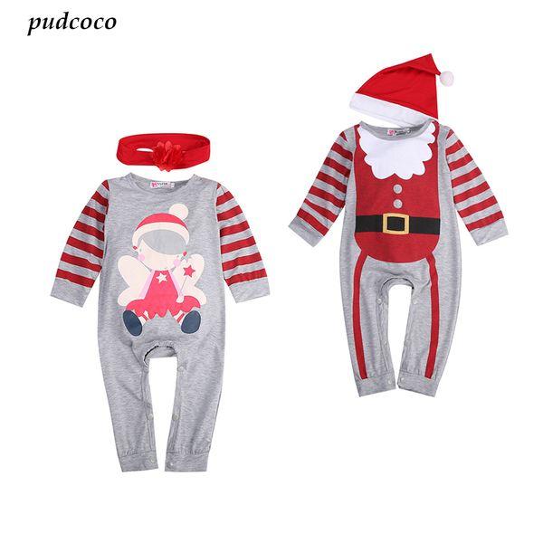 Pudcoco 2Pcs Christmas Babies Kid Cute Romper hat headband Outfits Newborn Baby boys Girl Santa Claus Romper Infant Kids Clothes