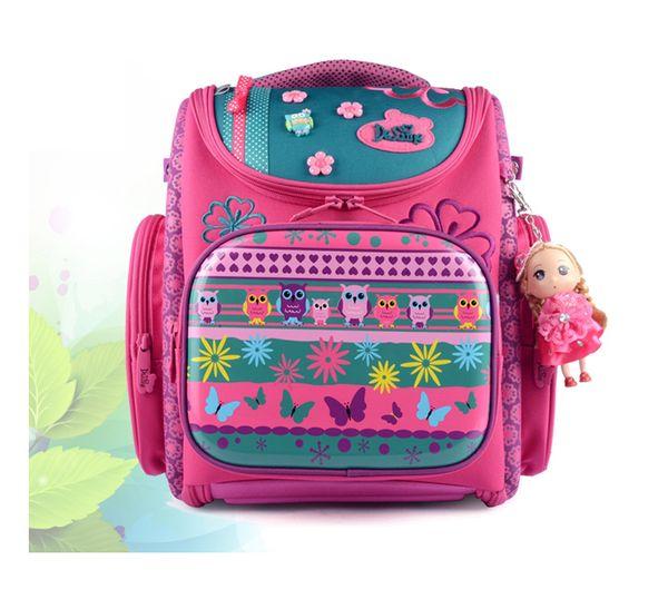 Delune children school bags cartoon bear Dog Cat kid bag for girls for school girl Flower backpack space raincoat outlet