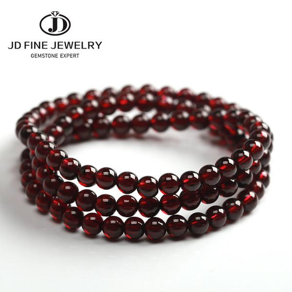 JD alta calidad del vino rojo + Natural 4-5mm Declaración granate bolas de piedra de la Ronda Pulsera 54cm de largo la mejor joyería de regalo saludable