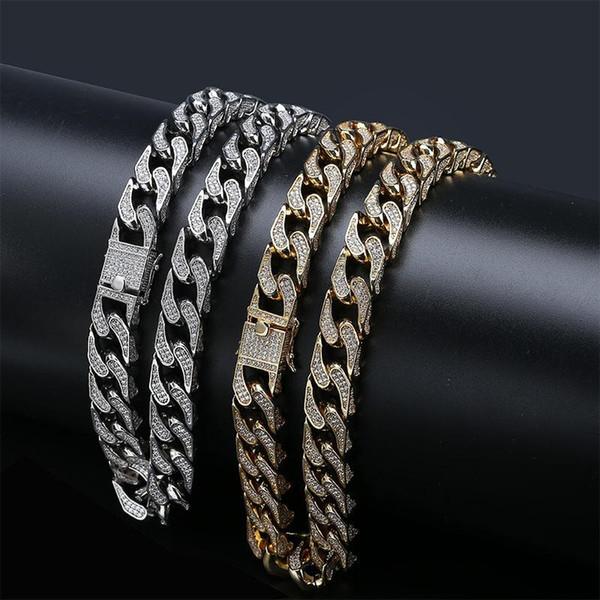 Collar de cadena de eslabones cubanos con diamantes chapados en oro blanco y oro de 18Q y oro blanco para hombre Iced Out CZ Cubic Zirconia Miami Curb Hip Hop Rapper Necklace