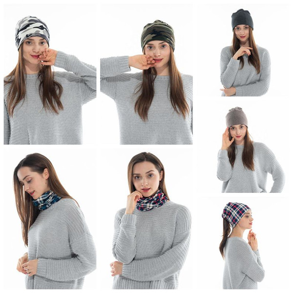 6 Colors 2 in 1 Winter Turban Hats Plaid Ponytail Beanies Camouflage Hat Unisex Bone Cap Outdoor Cycling Snow Bibs Cap CCA10961 50pcs
