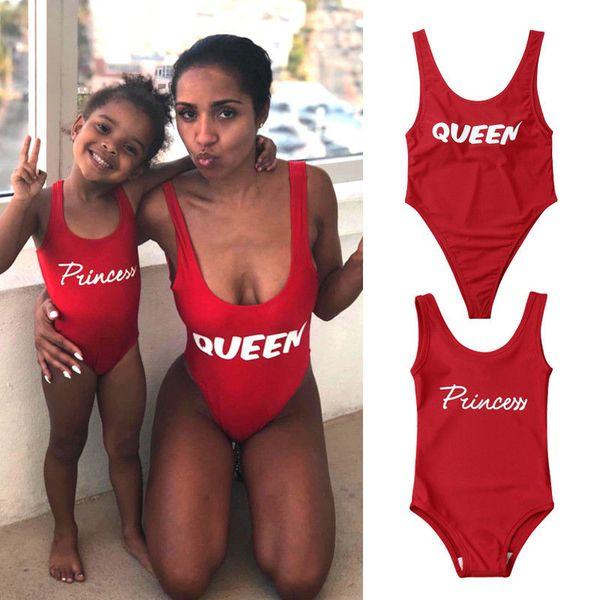 Women Girls Family Matching Swimwear Kids Baby Girl Sleeveless Bodysuit Princess Queen One-piece Swimsuit Bathing Beachwear
