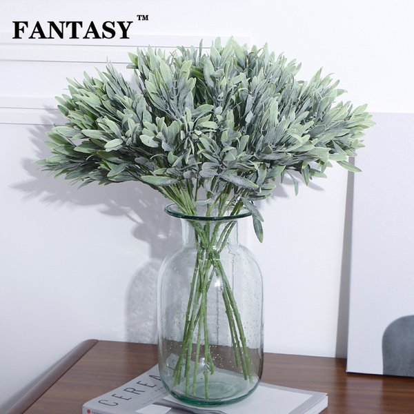 FANTASY 5Fork Fake Olive Leafs Artificial Green Plant Plastic Leaves Willow Tree Branch False Foliage Flower Arranging Garland