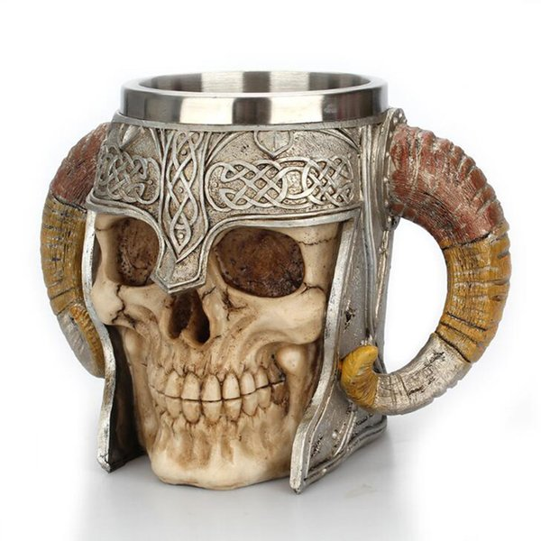 Stainless Steel Skull Mug Viking Ram Horned Pit Lord Warrior Beer Stein Tankard Coffee Mug Tea Cup Halloween Bar Drinkware Gift C19041302