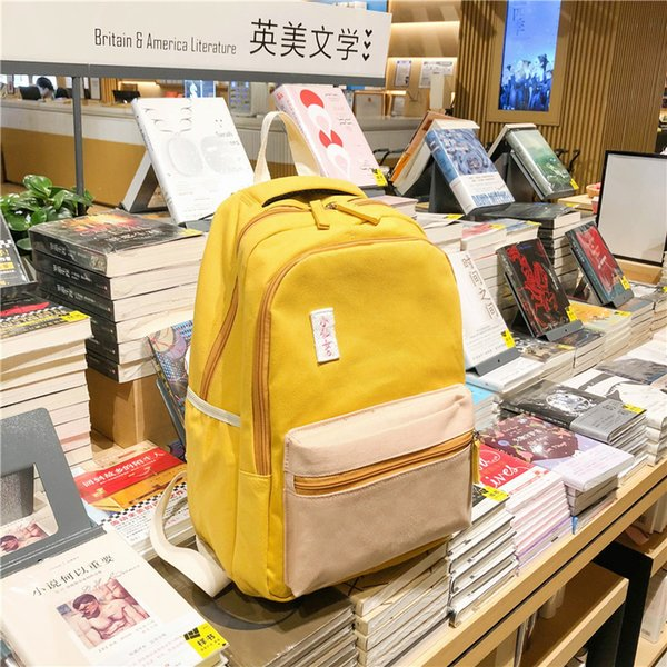 Charismatic2019 Borsa coreana A Campus Junior Student Liceo Vivente Small Fresh Hit Colour Both Bothers Package Concise Canvas Backpack