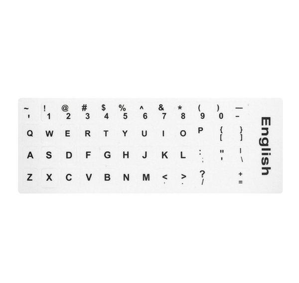 English Keyboard Replacement Stickers White on Black Any PC Computer Laptop BI