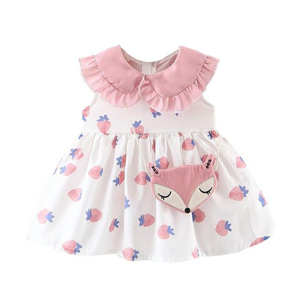Kawaii Criança Bebê Crianças Meninas Vestido Sem Mangas Ruffles Impressão Morango Baby Girl Vestido de Festa Princesa Vestidos Saco