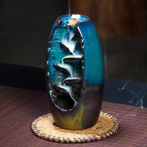 Queimador de Incenso Backflow Forno De Aromaterapia De Cerâmica Escritório Em Casa Aromático Buda Decorativo Incenso Torre Torre Cone Titular