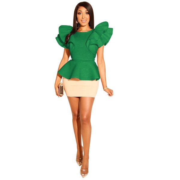 Women Bodycon Two Piece Sets Elegant Irregular O Neck Ruffles Sleeve Top With Mini Skirt Sets Night Party Outfit