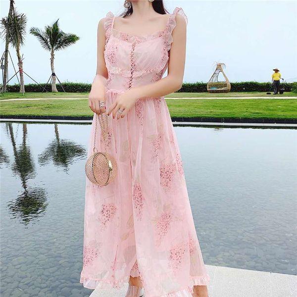 Runway 2019 Summer Bohemian Holiday Rompers Jumpsuit Women Spaghetti Strap Chiffon Flower Print Pink Wide-Leg Jumpsuits