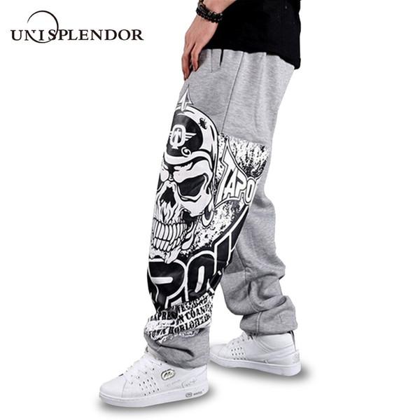 Unisplendor 2019 Automne Hip Hop Style Hommes Casual Pantalon Complet Noir / Gris Impression Crâne De Mode Lâche Grande Taille Long Pantalon YN375
