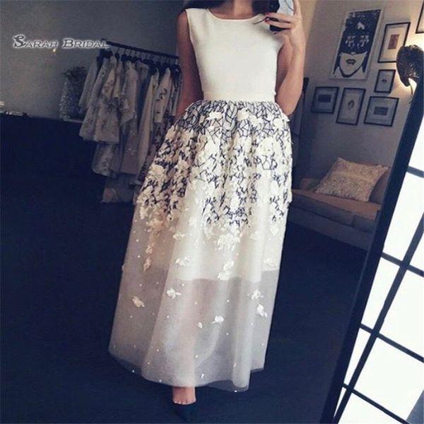 Appliques Ankle Length Jewel Sleeveless Prom Dresses Vestidos De Festa In Stock Hot Sales High-end Occasion Dress
