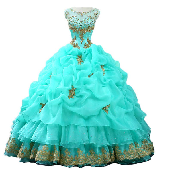 Stunning Gold Lace Quinceanera Prom dresses Real Photo Sheer Neck Applique Beads Sequins Organza Ruffles With Sleeves Vestidos De Dress