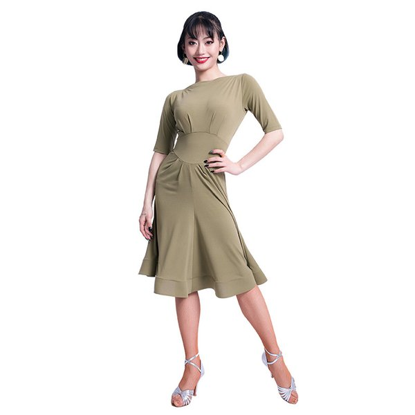 Fashion Solid Color Half sleeve Modren Sexy Latin Dance One-piece Dress for Women female Ballroom Costumes Flamengo wears M3239