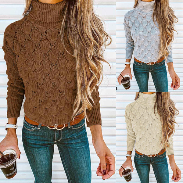 Womens Ladies Long Sleeve High Neck Chunky Knitted Crochet Sweater Jumper Pullover Tops Colour 3 Size S-XL
