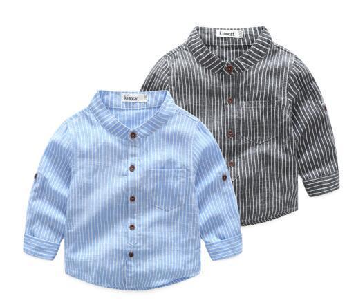 INS NEW Gentleman boy Kids Clothing shirt long Sleeve stripped print Stand collar T shirt kids causal 100% cotton boy kids clothes