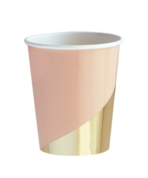 Gold Blocking Pink Marble Texture Disposable Tableware Set Paper Plates Cups Napkins Party Wedding Carnival Tableware Supplies