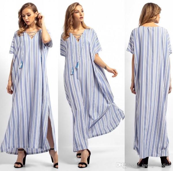 Sexy lace up v-ausschnitt kurzarm maxi frauen dress schöne lange lose gestreifte arabische kleider für frauen islamische kleidung fs5822