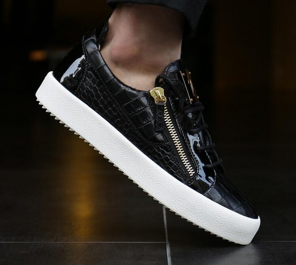 Zapatillas de deporte de los mejores diseñadores de moda 2019 para hombres y mujeres, cuero zanotty negro blanco para zapatos casuales, estuche original y bolsa para el polvo