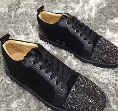 Zapatillas de hombre Zapatos de fiesta Vestido de boda Low Top Junior Spikes Zapatos de cuero con purpurina con fondo rojo, suela roja de lujo Ocio Pisos al aire libre EU35-46