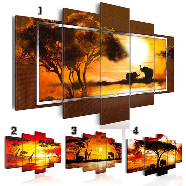 Mode Mur Art Toile Peinture 5 Pièces Africain Animal Paysage Peinture à L'huile Éléphant Girafe Moderne Décoration de La Maison, Choisissez La Couleur Et Siz