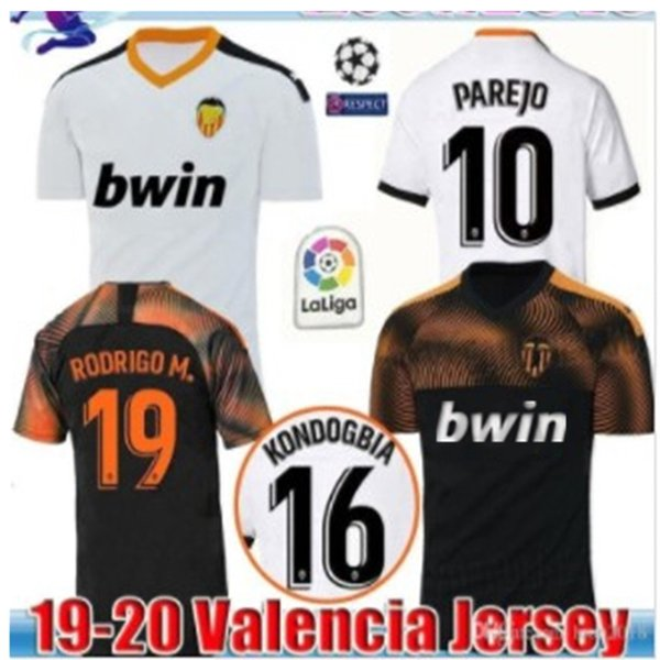 Neu 2019 2020 Valencia Soccer Jersey Unterhemd Valencia 19 20 Bestes 3A-Qualitäts-Fußballtrikot Parejo Batshuayi Gameiro