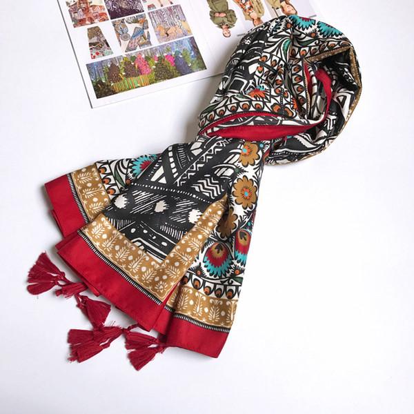 Women Cotton Scarf Twill Totem Pattern Ethnic Long Shawl Female Large Wrap Brand NEW [1833]