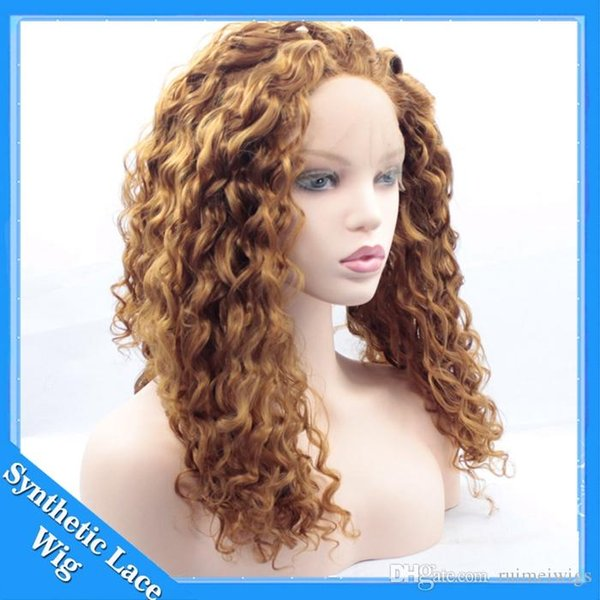 #30 Honey Blonde Synthetic Afro Kinky Curly Hair Wig For Women Short Kinky Hair Jerry Curly Resistance Fiber Blonde Synthetic Lace Front Wig