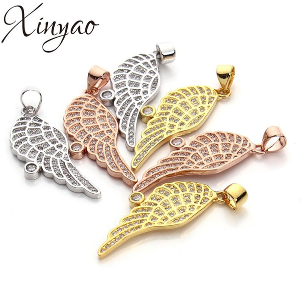 2pcs/lot Micro Pave Copper Angel Wings Pendant Zircon Floating Charms for DIY Necklace Pendant Jewelry Making Findings 11x28mm