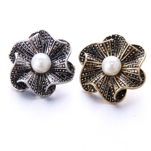 10 teile / los Vintage Silber Snap Schmuck Perle Blume Druckknopf Schmuck Fit 18mm Snaps Armband Bangles DIY Halskette Für Frauen