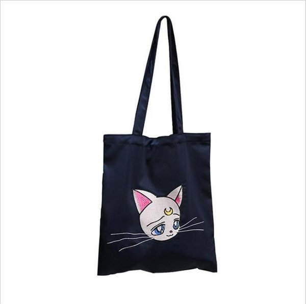 Cat Embroidered Satin Silk Canvas Should Tote Bag For Women Ladies Girl Female Hand Bags Fashion Cute Handbag Shopping Totes Bag