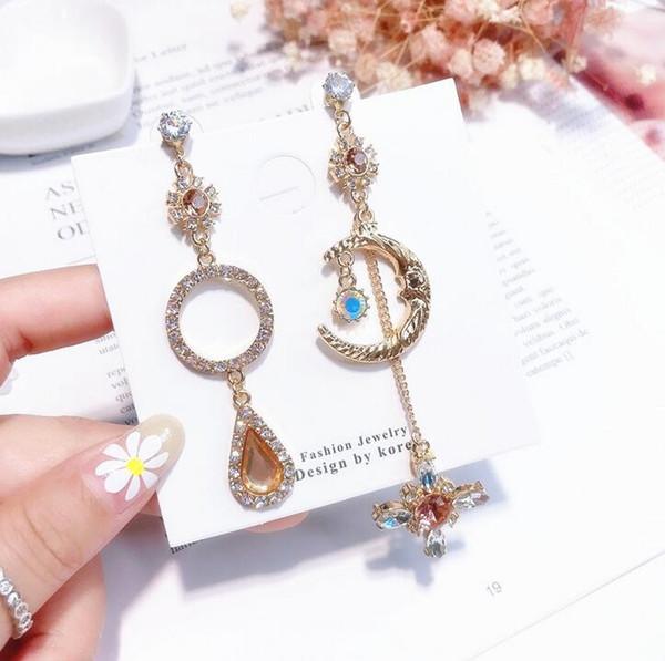 Fantasy girl orange star moon pendant long asymmetrical ear stud ear clip earrings without pierced silver needle